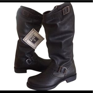 Black Veronica Slouch Frye Boots - Gently Worn